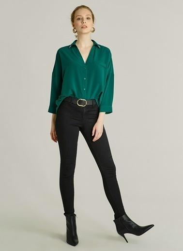 NGSTYLE Yakası Taş İşlemeli Gömlek Yeşil